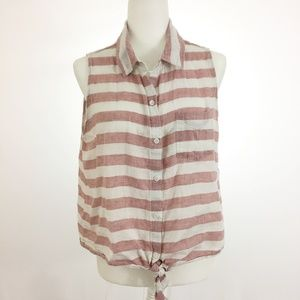 Beachlunchlounge Linen Striped Sleeveless Top XL